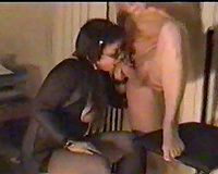 My hefty dark brown playgirl plays with sex-toy and blows me