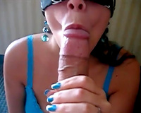 Blind folded BBC slut blows massive shlong and licks shlong head