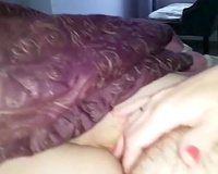 big beautiful woman granny plays with her shaggy muff in non-professional episode