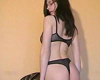 Sensual and nerdy Russian brunette hair beauty stripteases on cam
