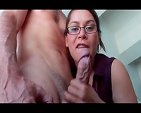 Amazing cook jerking from teacher in glasses