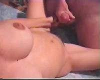 I am splashing jizz on my busty juvenile wifey on webcam