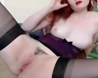 Red haired marvelous bootyful pale redhead in stockings masturbated