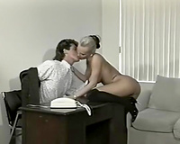 Lovely and sexually excited blondie in the office feels slutty