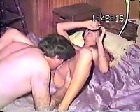 Retro homemade sex clip of me eating my girl's shaggy pussy
