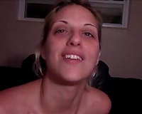 Blond haired floozy want to smack cum a bit on the camera