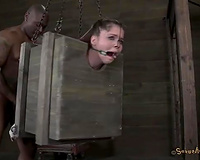Outrageous horror BDSM session for nasty golden-haired white skank
