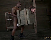 Outrageous horror BDSM session for nasty golden-haired white skank