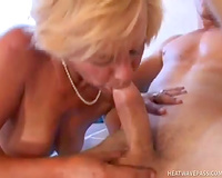Lustful blond aged whore receives her bawdy cleft shoved by younger stud