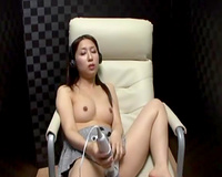 Japanese cutie trembling with fun during the time that toying herself in solo video