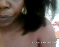 Black sweetheart shows off her tasty tits and then plays with her slit