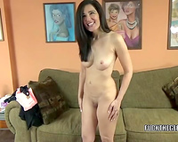 Adorable pale skin dark brown slutty wife blows wang on her knees