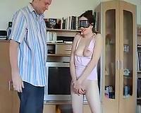Blindfolded and bound up compliant slender pale dirty slut wife gets spanked a bit