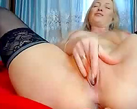 Wondrous large racked dilettante blonde haired mature wife masturbated