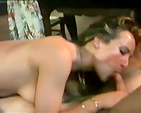 Busty and insatiable classic European chick rides her stud
