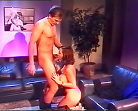 Allegedly rich man feeds a breasty retro golddigger with his rod