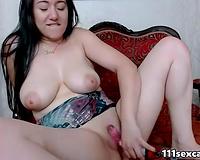 Fatty large boobs brunette hair camgirl masturbates on webcam