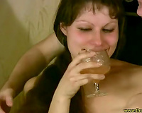 Horny all stripped ribald haired dark brown lets her BF jam natural marangos
