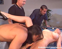 Busty and aged blond slutty wife Summer drilled on the pool table