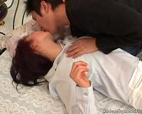 Dude strips petite Japanese horny white wife and plays with her cum-hole