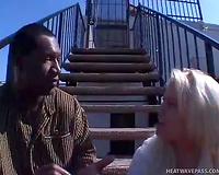 Black stud enjoys eating white snatch of one street bitch