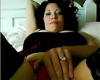 Lascivious aged webcam bitch flashes her hirsute cum-hole
