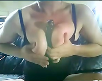 Amazing breasty white lady on the leather sofa in front of livecam