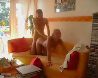 Furious drilling my sizzling hawt blonde playgirl doggy position on the daybed