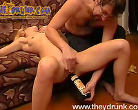 Nasty golden-haired Liana receives her rectal hole toyed to big O