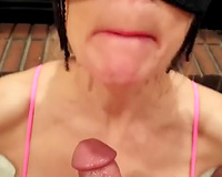 Wrinkled pale and horny masked hooker in pink underware sucked my ally
