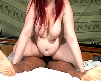 Dirty white big beautiful woman redhead fed with dong and drilled in missionary position