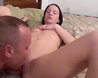 Hot and lean brunette hair juvenile tramp having sex with her hot paramour