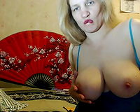 Blond haired super breasty older wench fingerfucked her love tunnel