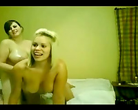 My corpulent lesbian babes girlfriend and me go wild on a web camera