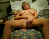 My fat blond housewife masturbates her wet crack with a dildo