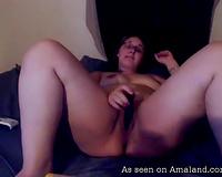 Delightful and pleased PAWG babe talks impure and masturbates