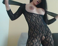 Fantastic long haired perfect bootyful brunette hair honey was teasing her cunt