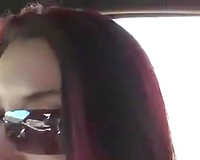 Slutty girlfriend gives me one hell of a tugjob right in my car