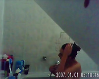 Installed in bathroom hidden web camera caught my ex-wife taking a shower