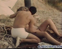 Young paramours have vehement sex outdoor while camping