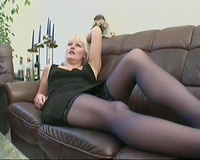 Seasoned mature blond slut acquires team-fucked by younger guy