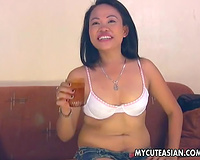 My Thai GF undresses and shows her fine oral sex skills