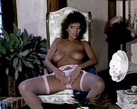 Beautiful and breasty dark brown milf in underware showing cum-hole