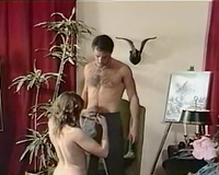 Two regular classic whtie harlots sharing one unshaved jock