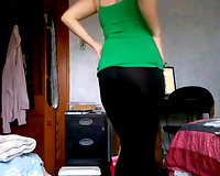 Sexy blond takes off her dark leggings to flash white butt