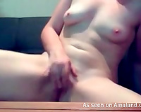 Just a hot dilettante playgirl stripteases and masturbates