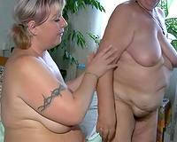 Obese lesbian babes make every other cum using a double sex tool