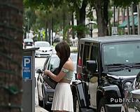 Busty legal age teenager flashing muff in public