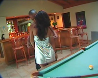 Sensual ebon hotwife acquires her pink pussy eaten on the pool table