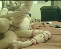 Flexible pallid housewife was lying on body side for spoon position fuck
